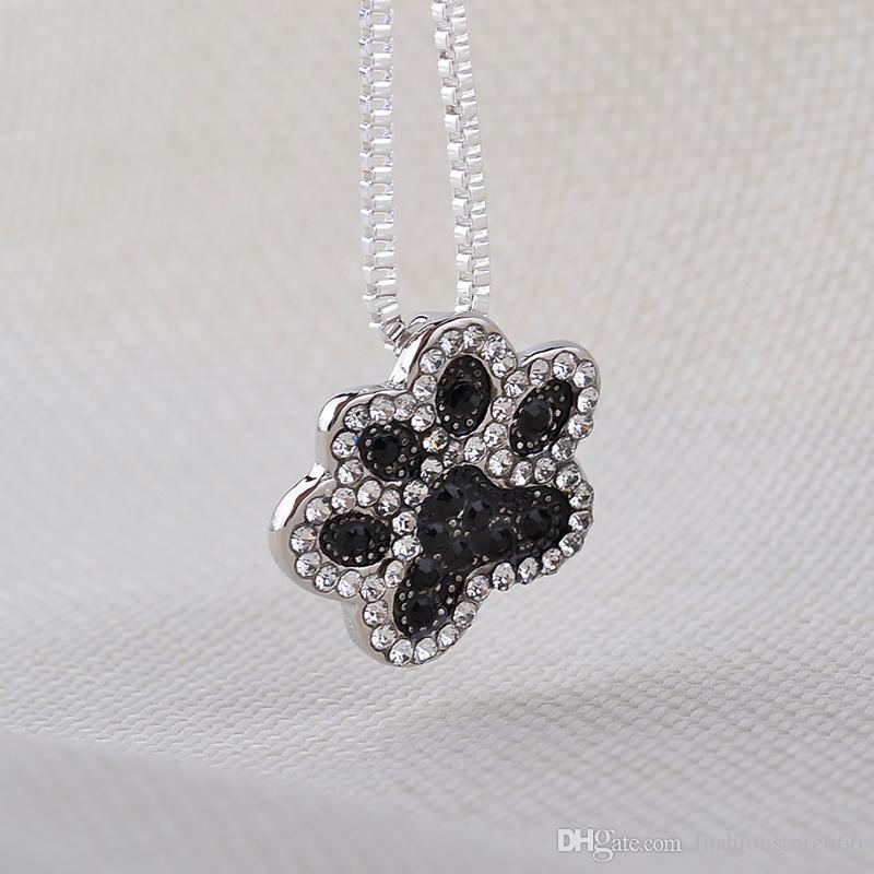 Щенок собака кошка pet Paw печатает подвески подвеска для женщин полный Кристалл след подвески ожерелья День Святого Валентина ювелирные изделия
