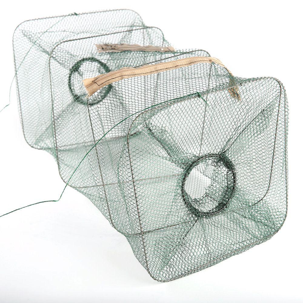 Foldable Nylon Fishing Net Catch Crab Fish Crawdad Shrimp Minnow Mesh Cage  Fishing Bait Trap Cast Dip Drift Shrimping Net Hot