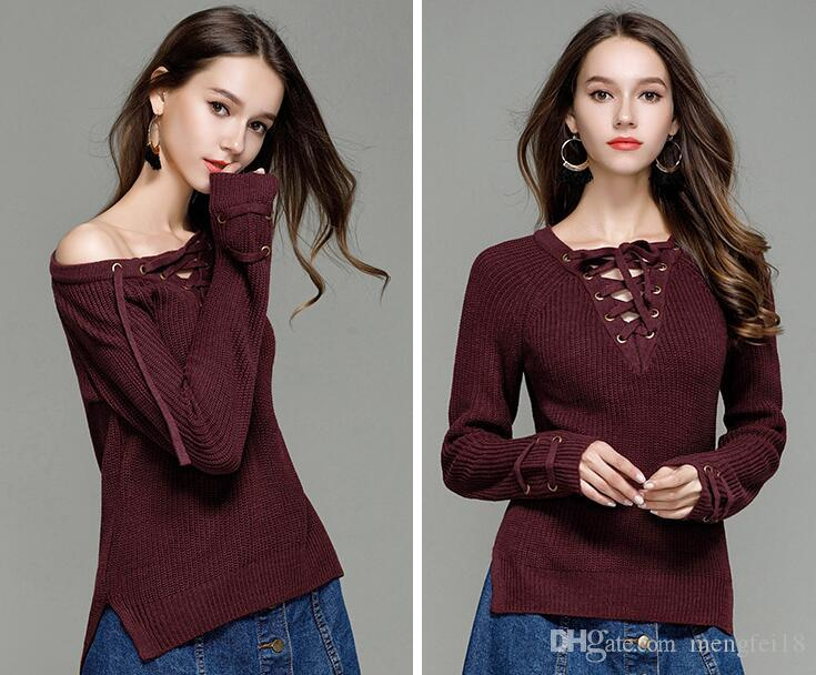 2017, новый осенний пуловер, женский трикотаж, V воротник, вязаный свитер с длинными рукавами сплошной цвет