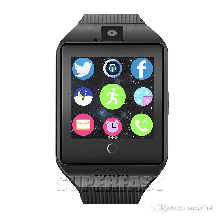 Q18 Smart Watch Bluetooth Smart Uhren für Android Handys Unterstützung SIM-Karte Kamera Anruf annehmen und einrichten verschiedene Sprache mit Box