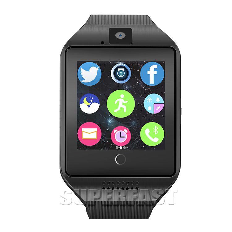 Q18 Smart Watch ساعات بلوتوث الذكية للهواتف المحمولة التي تعمل بنظام أندرويد دعم بطاقة SIM كاميرا الرد على المكالمات وإعداد لغة مختلفة مع صندوق