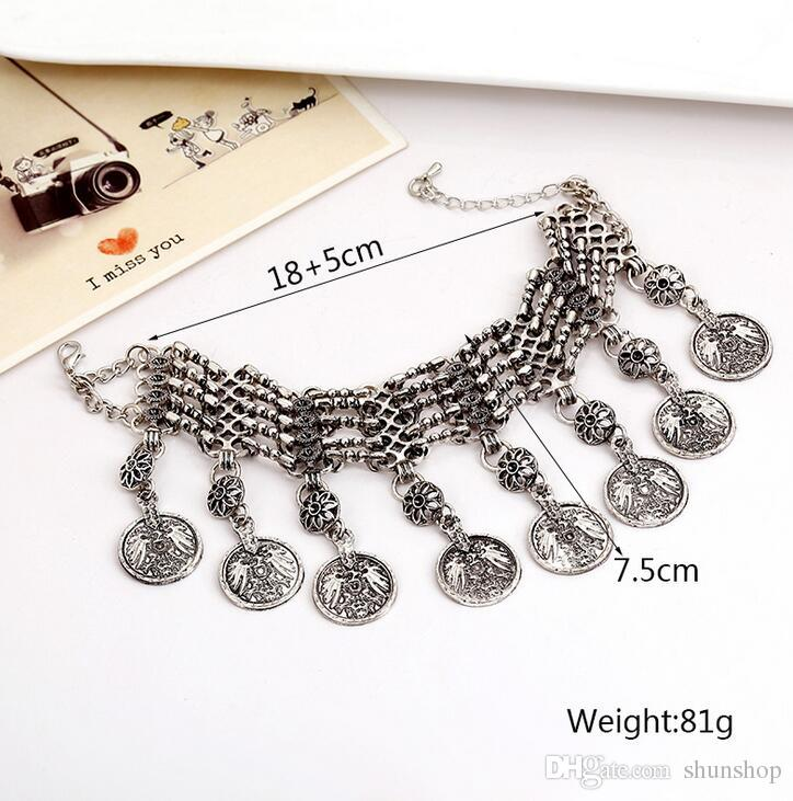 Fashion Coin Tassel Bracelets For Women Ethnic Carved Chain Bracelets Vintage Bohemian Bracelet Femme Gypsy Ethnic Jewelry