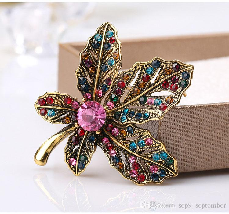 Vintage Jewelry Rhinestone Elegant Brooches Jeweled Maple Leaf Big Brooch And Pin Clothes Decor Christmas Gifts
