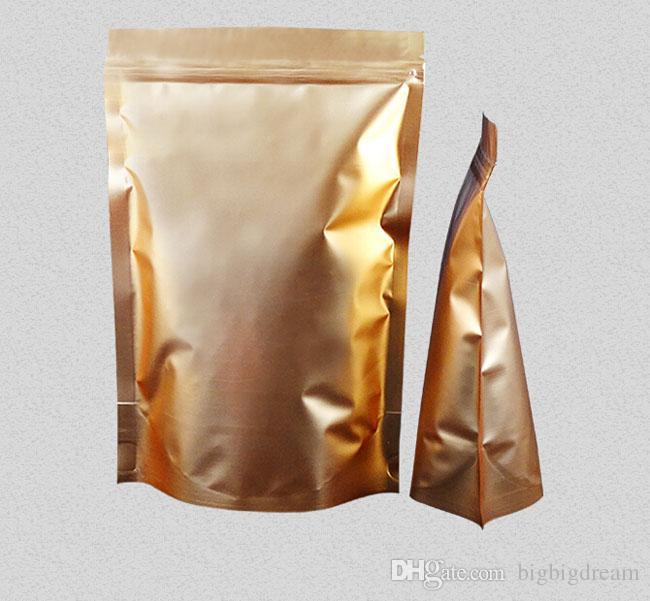 100 stücke Goldene wiederverschließbare Ständer auf Aluminiumfolie Reißverschluss Schloss Taschen Metallic Aluminium Kunststoffbeutel Reißverschluss Griff Dichtung 9-29cm Tasche Großhandel