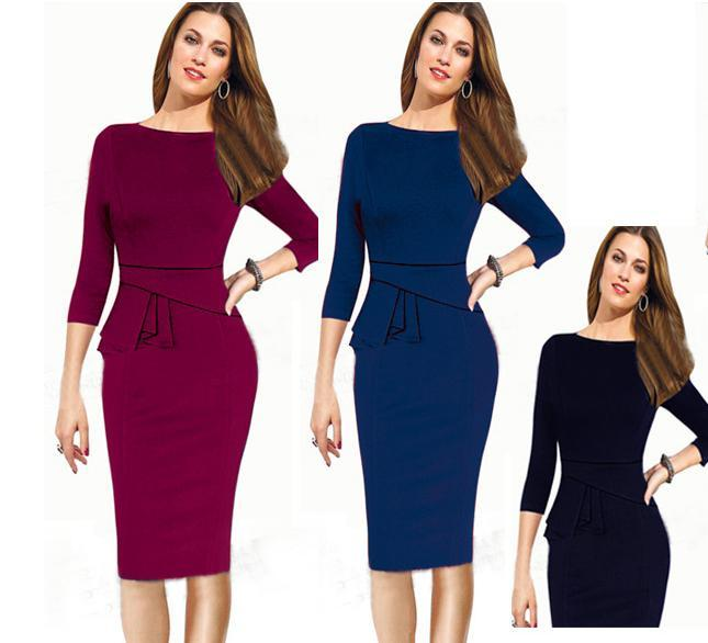 a36ddefa2d7 2019 Ladies Formal Working Dresses Peplum Knee Length Party Evening Women  Bodycon Clothing From Tradingbear