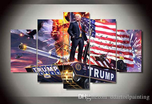 """LARGE 60""""x32"""" 5Panels Art Canvas Print Trump America Wall Hanging Oil Paintinng Wall Home Decor interior No Frame"""