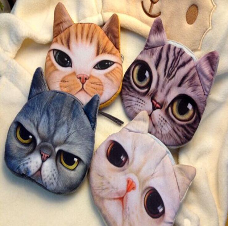 플러시 미니 3d 고양이 가방 개 호랑이 동물 얼굴 지갑 동전 가방 여자 어린이 지갑 여성 핸드백 클러치 주머니