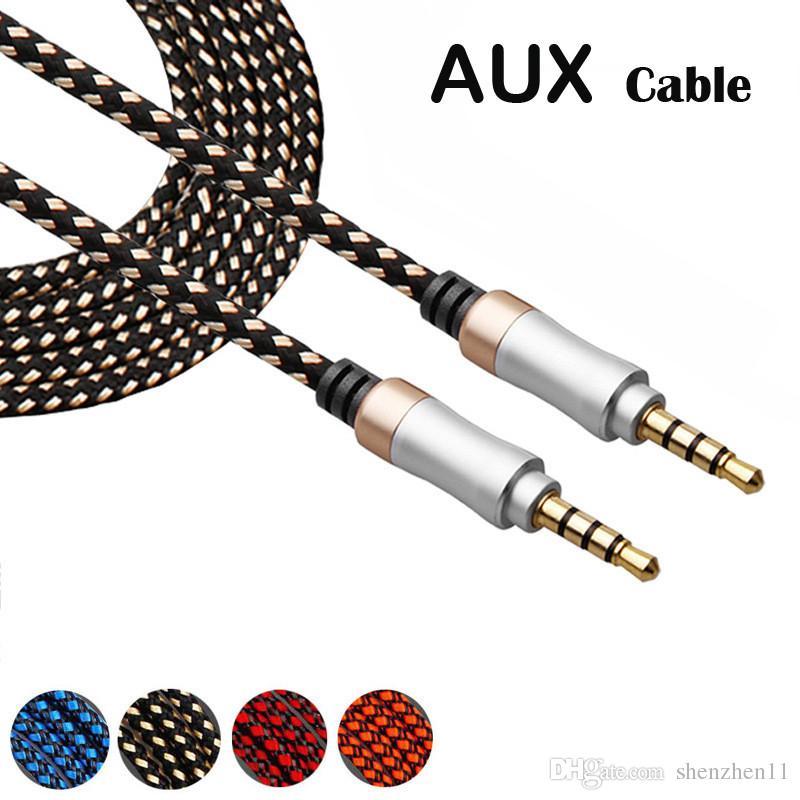 Câble AUX Câble audio auxiliaire sans enchevêtrement en nylon tressé de 3,5 mm, 5 pieds, 1,5 m pour casques iPod, iPhone, iPads Accueil Stéréos pour voiture CAB152