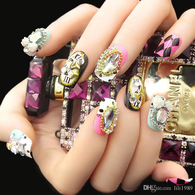 New False Nails Fake Nails Fingernails Sparkling Gem Fashion ...