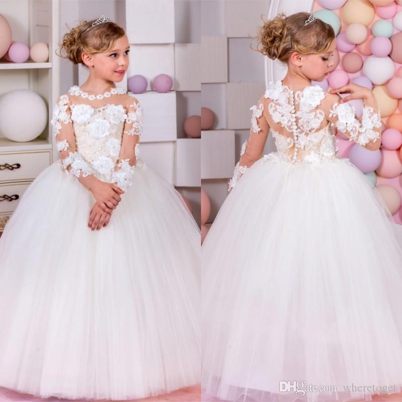 d118ef0ab Elegant White Flower Girls Dress For Weddings Girls Appliques Long ...