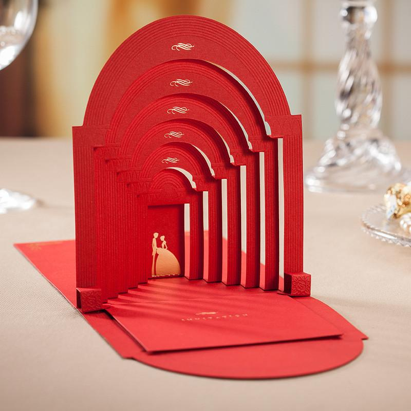 Wishmade Europe Style Red 3d Place Wedding Invitation Cards Church ...