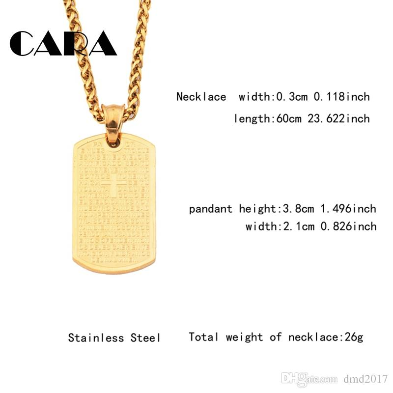 CARA NEW 316L stainless steel Gold Plated Text & Cross square tablet necklace charm with 60cm snake chain necklace CAGF0316