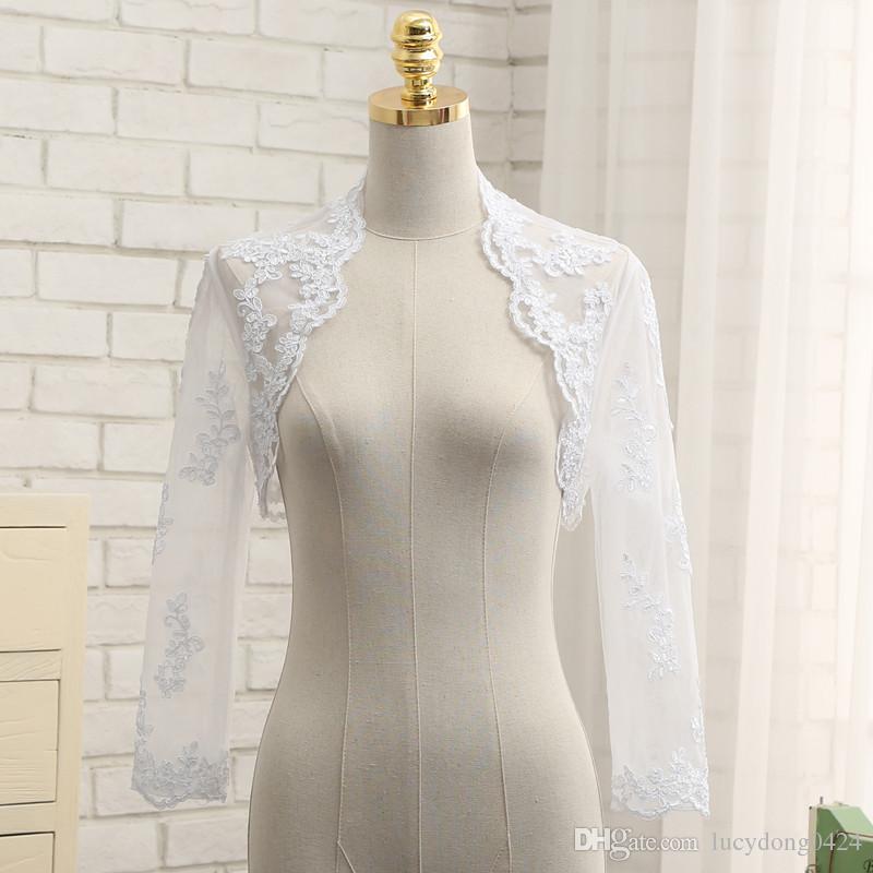 Elegant Bolero Jacket Shawl Wrap Sheer White Applique Wedding Jacket Bolero Jackets for Evening Dresses Long Sleeves wedding bolero