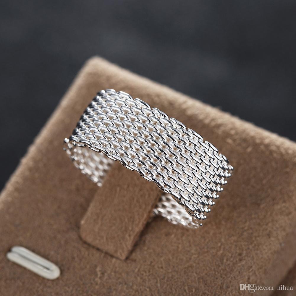 925 Silver Ring Fine Fashion Net Ring Women Men Gift Silver Jewelry Finger Rings