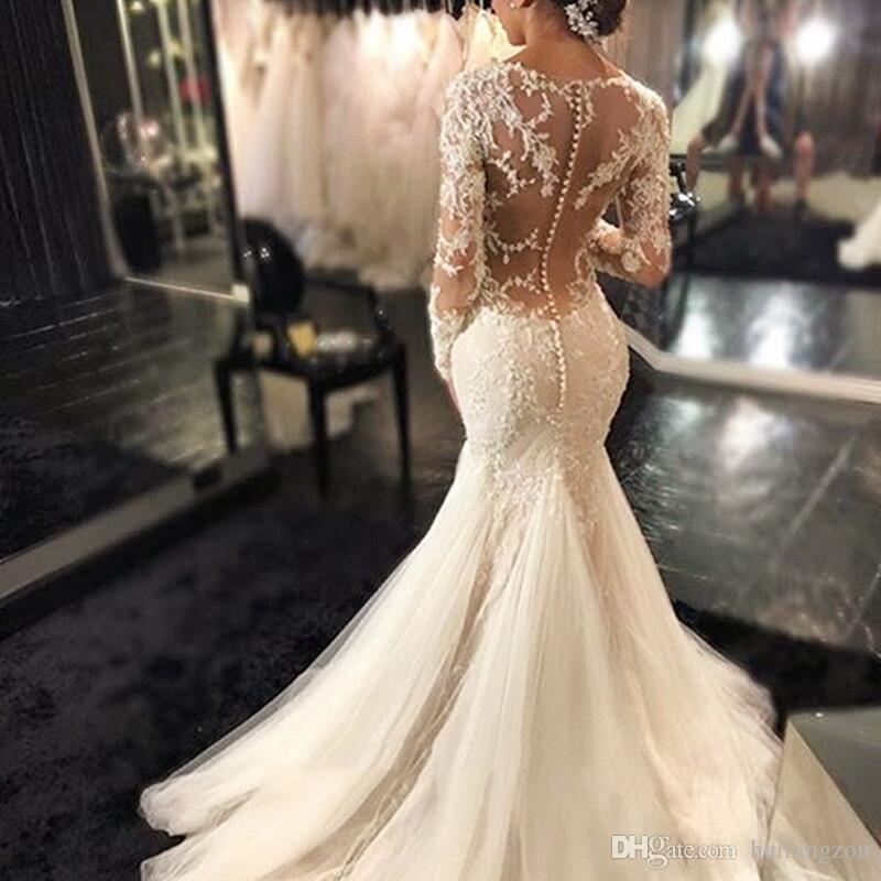Apliques de cuentas vestidos de boda de sirena de la boda de la vendimia vestidos de manga larga de encaje de barrido tren vestidos de novia de la joya