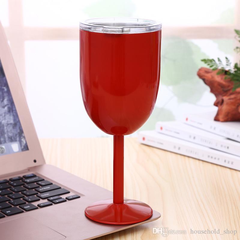 10oz Weingläser Edelstahl Neue 9 farben Vakuum doppelschicht thermobecher Drink Weingläser Tumbler Rotwein Becher Kostenloser Versand