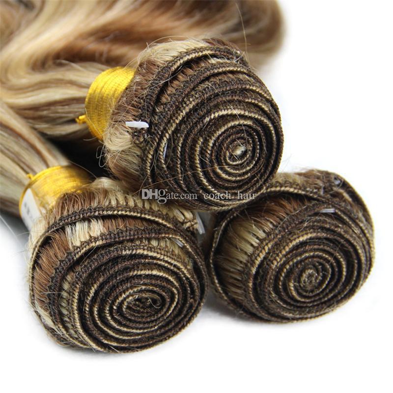 Two Tone # 8/613 Mix Piano Color Объемная волна Человеческие волосы 3 пучка Коричневая блондинка Ombre Virgin Бразильские волосы Плетение Наращивание