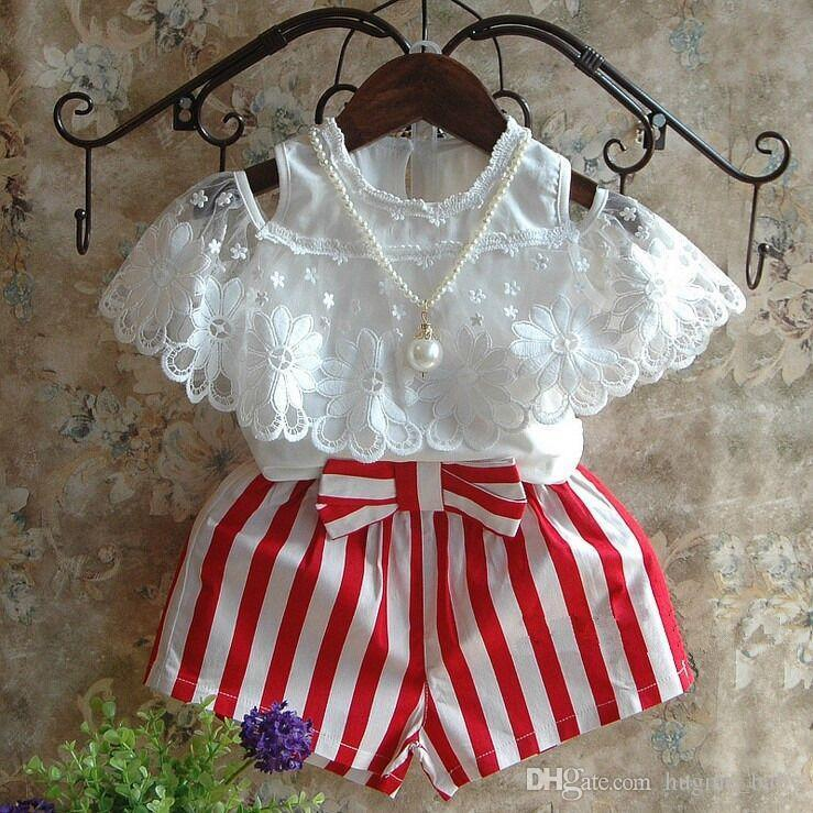 4f099831e Summer Girls Clothing Set White Lace Shirt + Red Striped Shorts Off ...