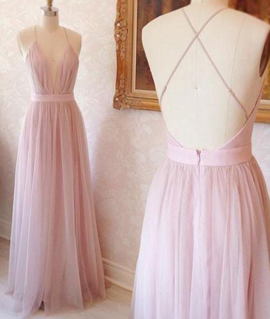 Sexy Pale Pink Bridesmaid Dresses Long Wedding Guest Dress Deep V