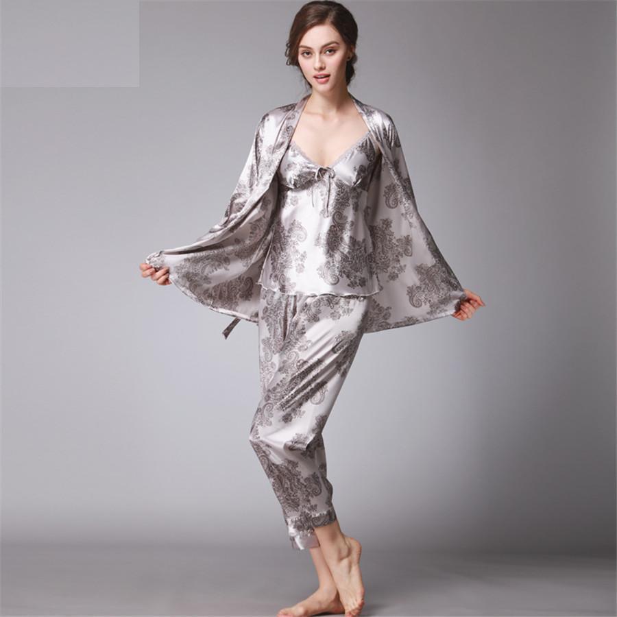 3237c856d4 2019 COCKCON Silk Pajamas Women S Autumn Long Sleeved Pants Three Sets Long  Nightgowns Women Sexy Sleepwear TZ013 From Southf