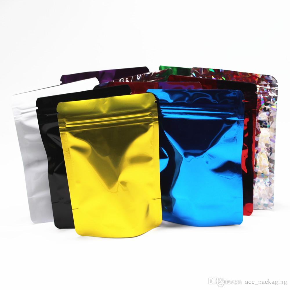 200Pcs /Lot 8.5*13cm Colorful ZipLock Stand Up Aluminum Foil Pouch Mylar Bags Resealable Doypack Food Packaging Zipper Bag