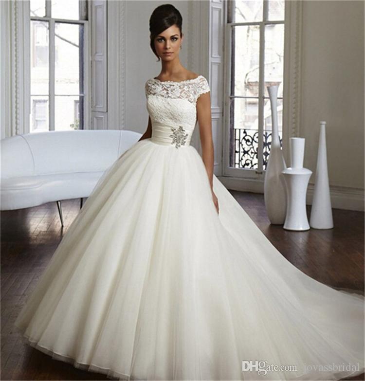 2016 Modest Pnina Tornai Ball Gown Wedding Dresses Cap Sleeve