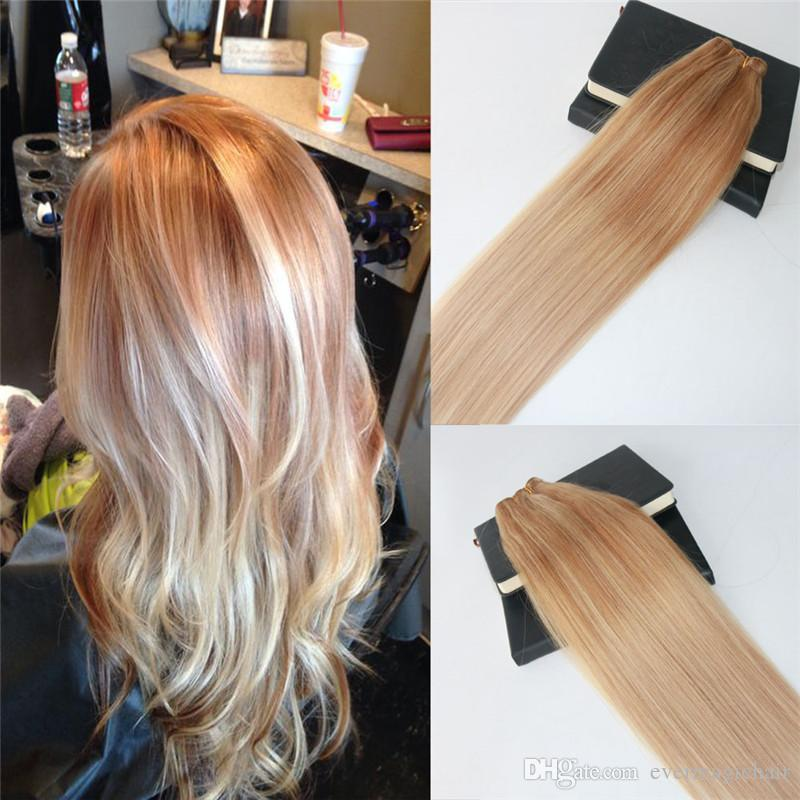 Wholesale Brazilian Omber Human Hair Weft 613 Blonde Highlights