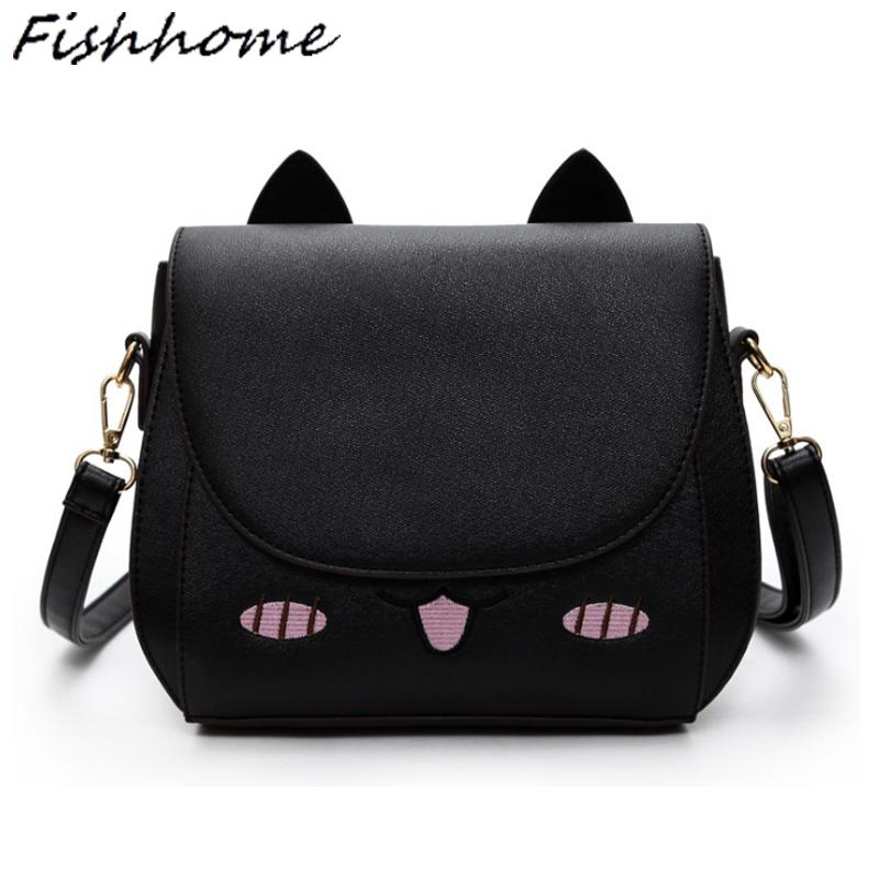 Wholesale Cute Kitty Cat Woman Messenger Bags Cartoon Style Korean Shoulder  Bags Luxury Handbags Cat Ears Women Shell Bags Bolsa SG180Z Satchel Handbags  ... 52259eb96bd64