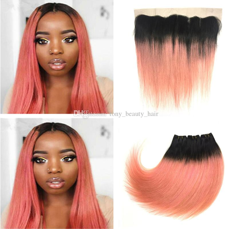 Cheap pink ombre human hair with frontal 1b rose gold two tone 3 cheap pink ombre human hair with frontal 1b rose gold two tone 3 bundles ombre hair with silky straight 13x4 lace frontal hair weave wholesalers milky way pmusecretfo Gallery