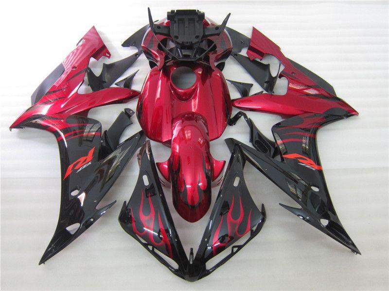 3 nouveaux kits de carénage de moto en ABS chaud 100% Fit pour 2004 2005 2006 YAMAHA YZF R1 YZF-R1 2004-2006 YZFR1 YZFR1 04 06 flamme rouge noir