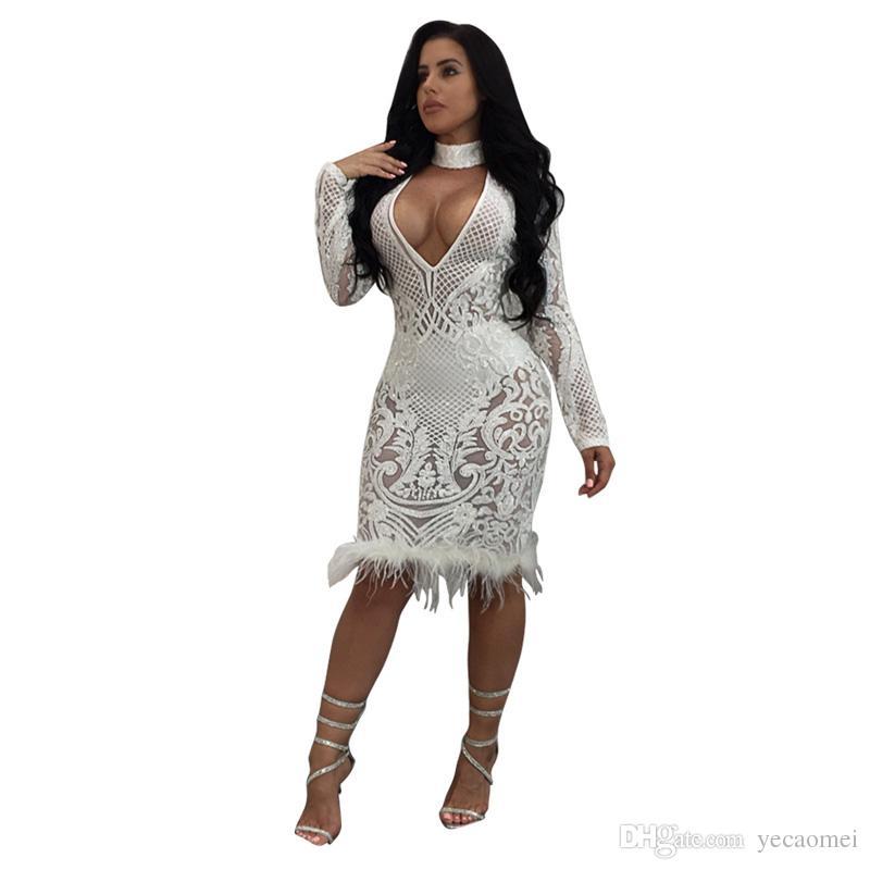 Vestito sexy dalla ragazza di stile americano di modo di autunno del vestito da V-Collar del vestito da modo di autunno di Fittness Club le signore Vestito bianco dalla piuma S-XL Trasporto libero