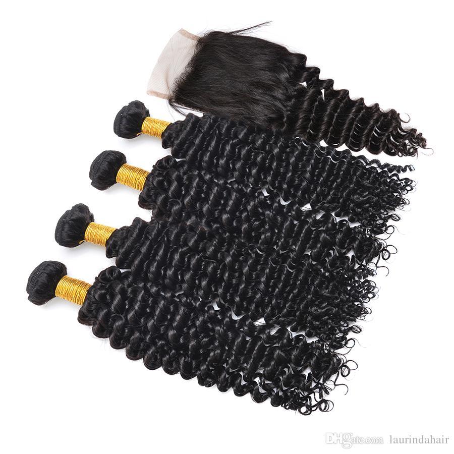 Üst Kapatma Ile saç Paketler Buy 4 Saç Atkılar Ücretsiz 1 adet Kıvırcık Dalga Dantel Ön Kapatma Malezya Derin Kıvırcık İnsan Saç Dokuma Almak