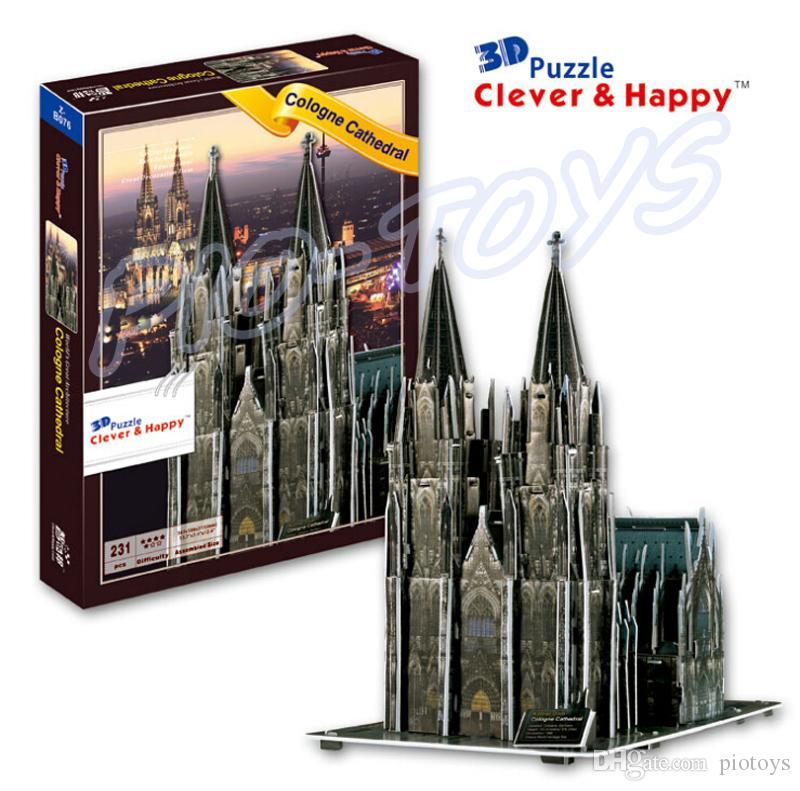 السنة الجديدة هدية كاتدرائية كولونيا 3d لغز نموذج لغز ديي لغز ورقة رغوة الإطار معروفة جيدا هيكل لعبة للمؤمن