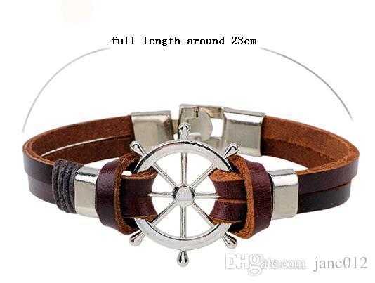 Cordão de couro Cuff Bracelet para Homens Retro Hipe rope Leme Âncora Charme Pulseira Masculino Bangles Atacado