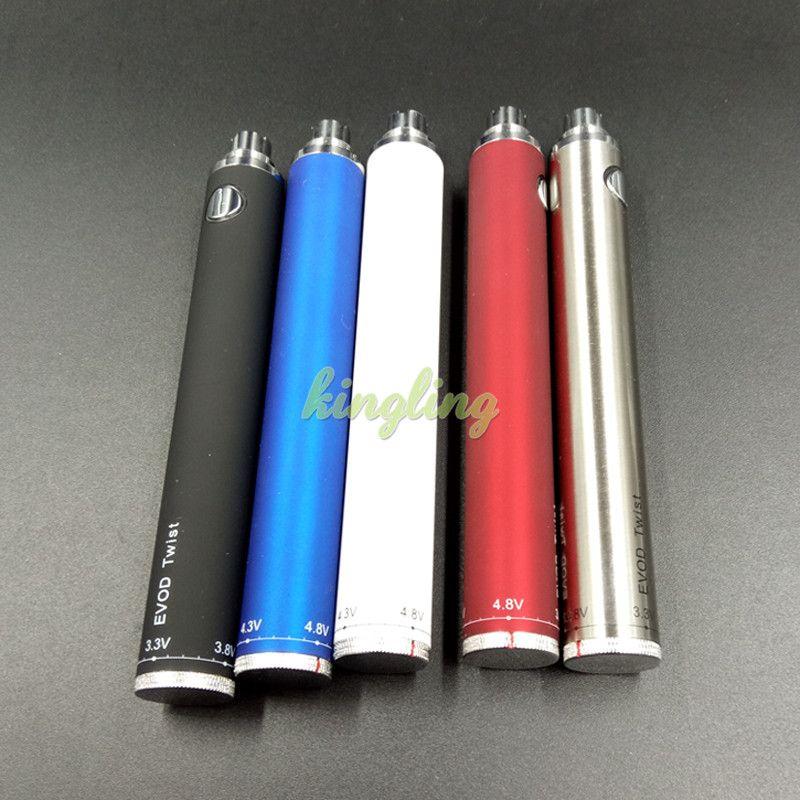 Ecigs EVOD torcedura VV de la batería 1300mAh para el cigarrillo electrónico de voltaje variable 3.2-4.8V de 510 eGo rosca para tanques CE4 CE5 atomizador
