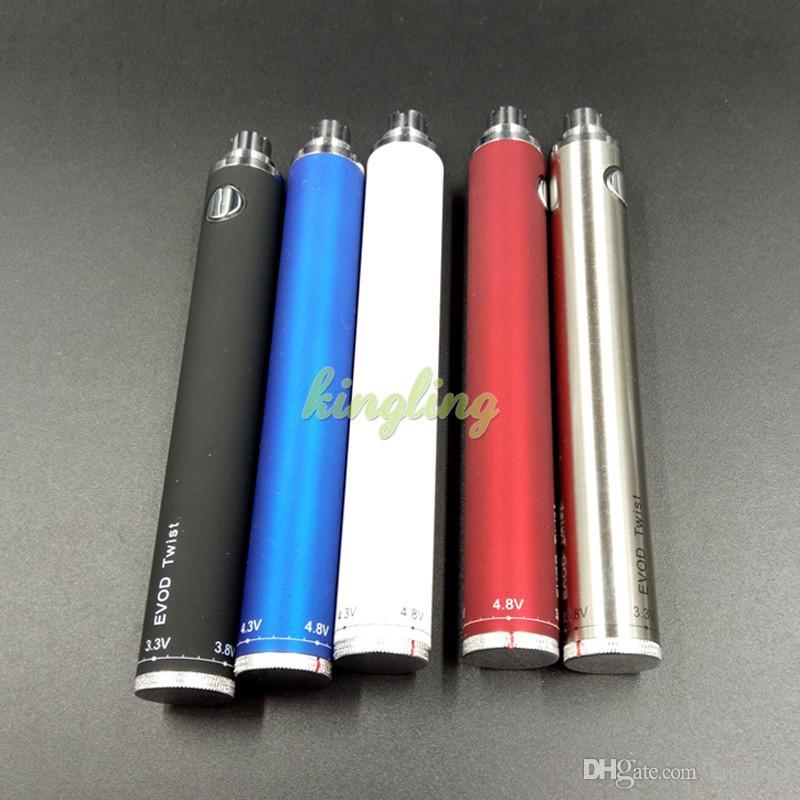Ecigs EVOD Twist VV Batterie 1300mAh für elektronische Zigarette Variable Spannung 3.2-4.8V von 510 eGo Gewinde für CE4 CE5 Atomizer Tanks