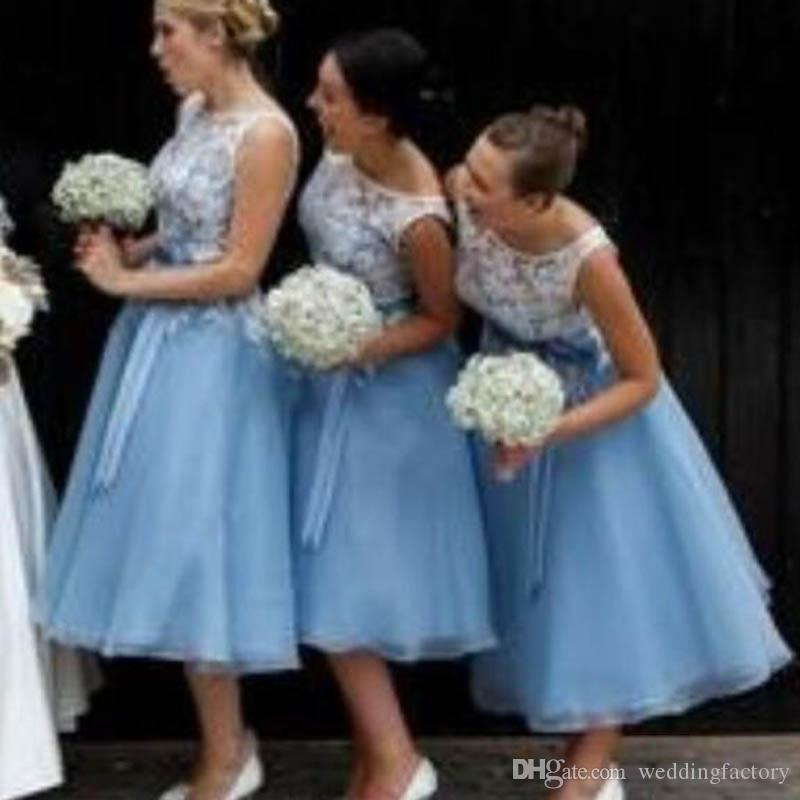 623fcddedff 2017 Gorgeous Tea Length Bridesmaid Dress Sheer Lace Bateau Neck Sleeveless  Light Blue Bridesmaids Dresses With Sash Custom Made Pretty Maids Bridesmaid  ...