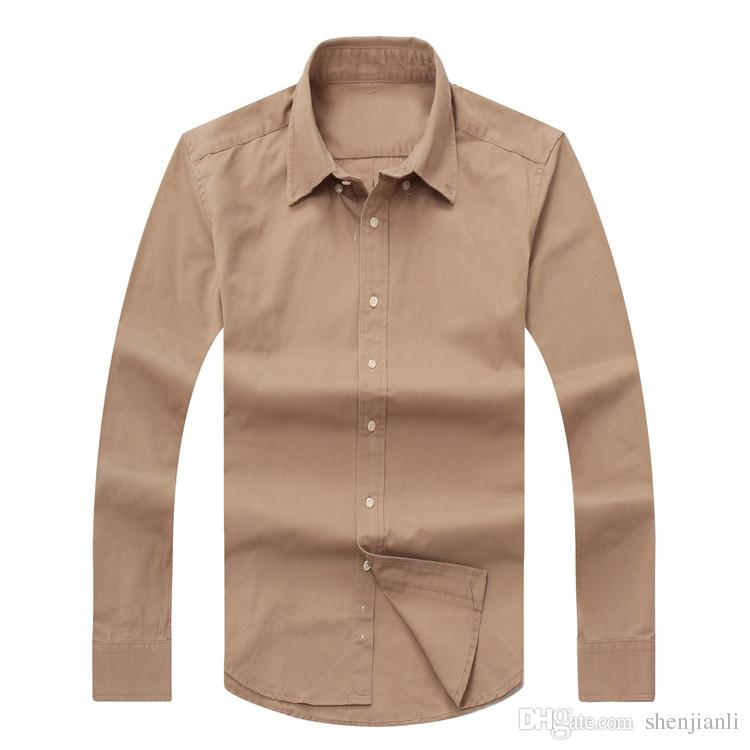 2017 neue Herbst-Männer Langarm-Shirt Baumwollhemd Herren-Polo beiläufiges Normal Regular Fit Herrenhemden und weise freies Verschiffen