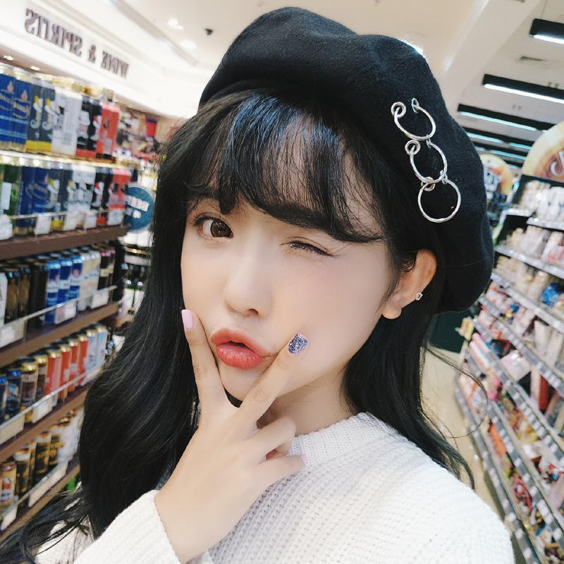 Wholesale- Fashion Beret with Rings Black Wool Newsboy Cap for Women ... 384ad95a9f