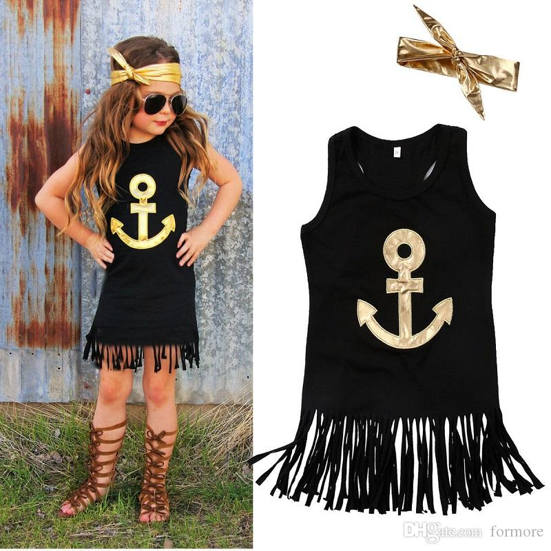 2019 Fashion Cotton Dress For Kids Tassel Baby Girl Sunderess Black Pageant Toddlers  Clothes Cute Cool Western Fringe Maxi Dresses Shirt Onesie From Formore ... 0dc8ea5cdf2b