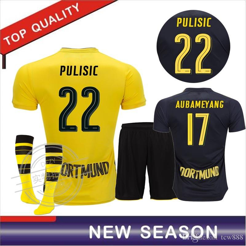 brand new 636ab 48c3f 17 18 Reus home yellow kits kit soccer jersey 2017 2018 AUBAMEYANG GOTZE  KAGAWA DEMBELE PULISIC away black football shirts