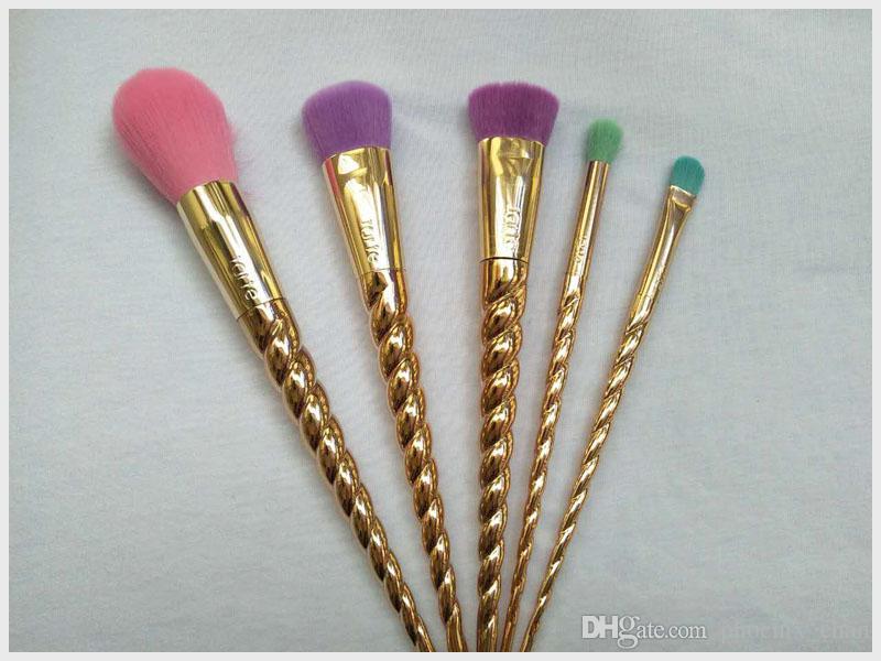 Pinceles de maquillaje juegos de cepillo de los cosméticos brillante de oro rosa espiral vástago herramientas de maquillaje brocha de maquillaje unicornio tornillo de transporte gratuito