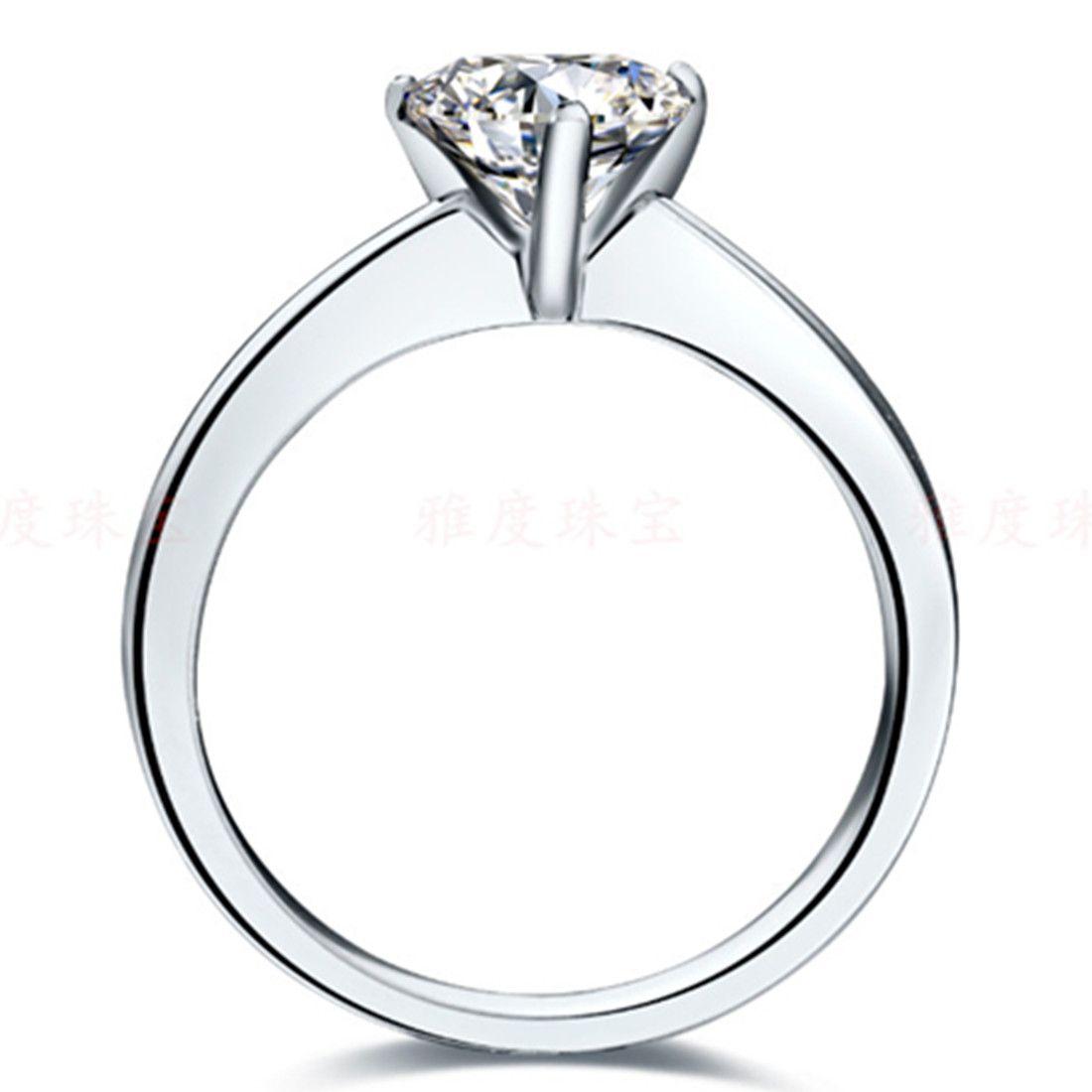 Increíble anillo de diamante sintético con forma de corazón 2CT Anillo de plata de ley maciza maciza acabado en oro blanco