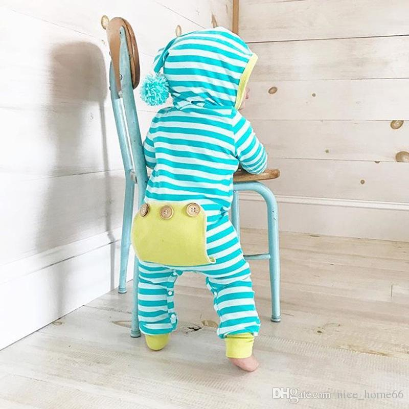 Baby Boys Girls Rompers Newborn Bodysuit Long Sleeve Romper Onesies Striped Kids Jumpsuits Girls Hooded Rompers Cotton Baby Clothes