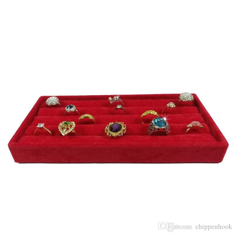 Brand New Velvet Ring Holder Jewelry Earring Display Organizer Storage Case Red Velvet Cufflinks Ring Storage Box Tray 11*22*3 cm