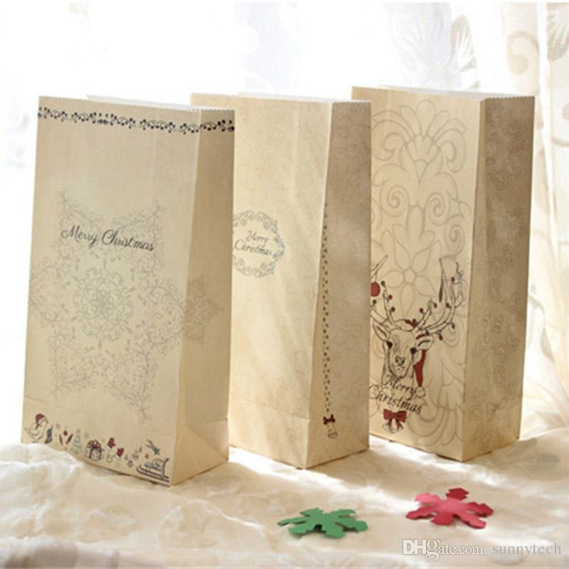 С Рождеством Подарочные пакеты крафт бумага Свадьба конфеты Лечить сумка для благосклонности партии Kawaii Хлеб Печенье для упаковки пищевых продуктов Сумки LZ0649