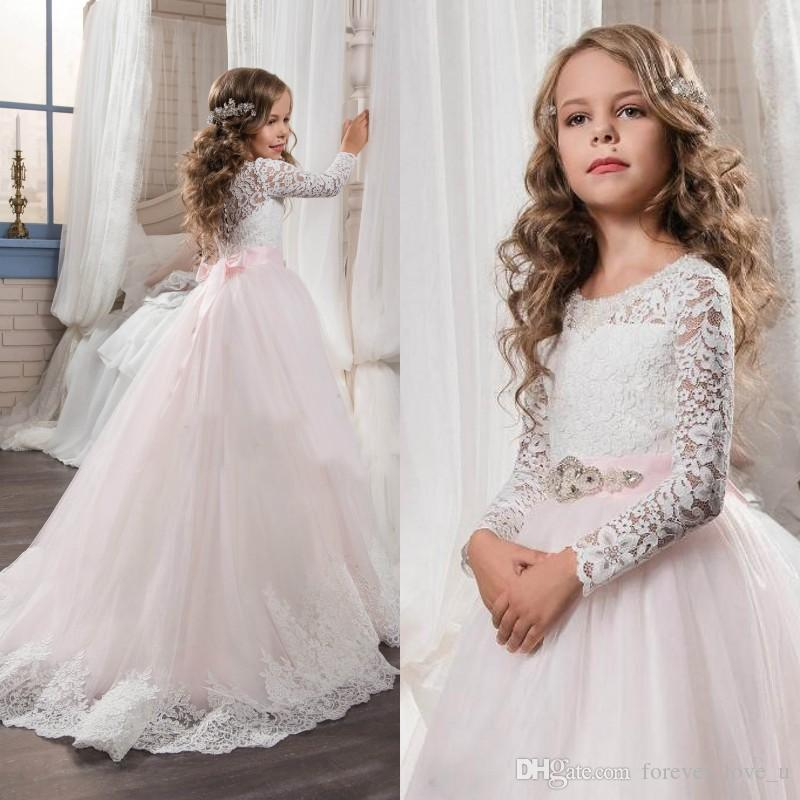 Charming Flower Girl Dresses For Wedding Lace Tulle Long Sleeve Flowergirl  Dresses Baby Pink Tulle Skirt Elegant Lace Appliques Beaded Sash Wedding  Stores ... e0cce4080