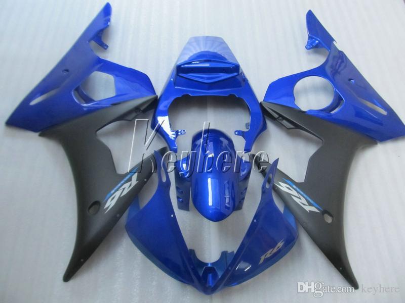Karosserie Kunststoff Verkleidungskit für YAMAHA R6 2003 2004 2005 blau schwarz Verkleidungen Set YZF R6 03 04 05 IY11