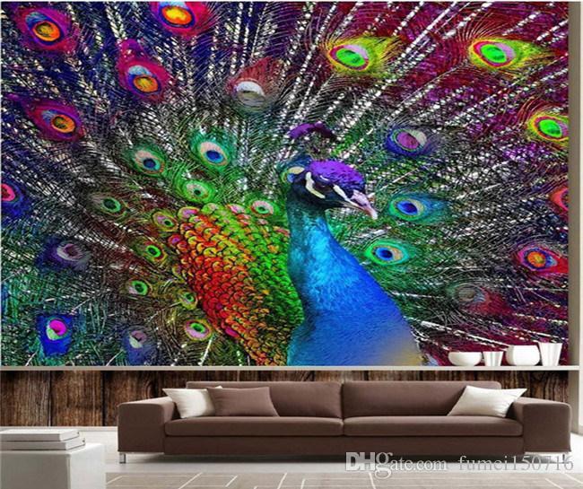 3d colorido pavão tela aberta foto papel de parede murais para sala de estar quarto parede decoração pintura moderna arte abstrata mural