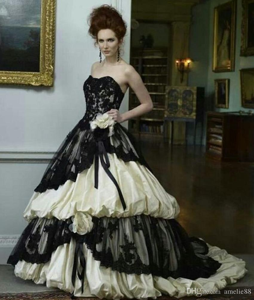 Victorian style wedding dress black and ivory sweetheart for Cheap vintage style wedding dresses